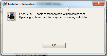 Error 27850 Unable to Manage Networking Component - Cisco VPN