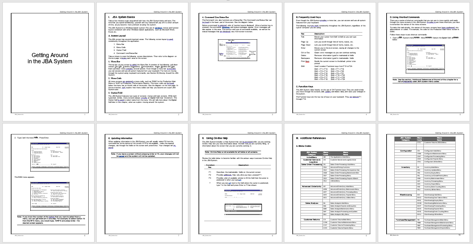 User guide to the JBA System21 application on the AS400 2