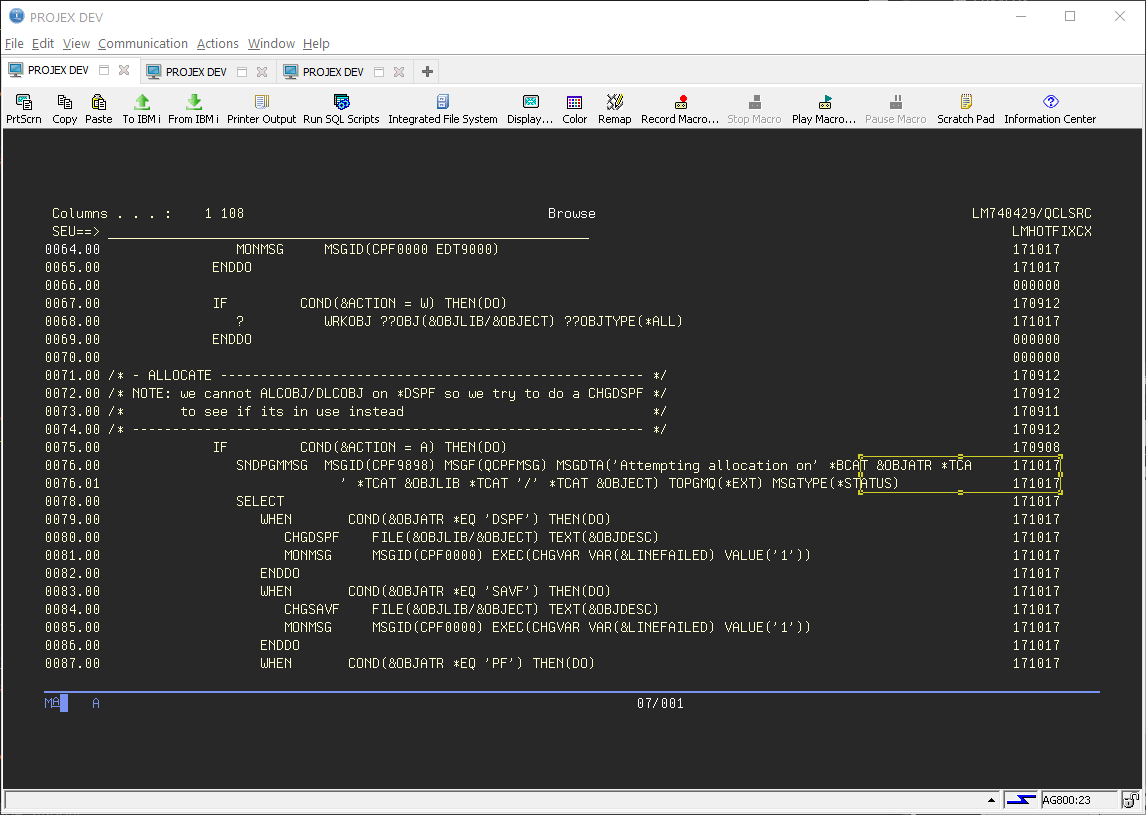 IBM CL Control Language Layout with RDi Rational Developer 2