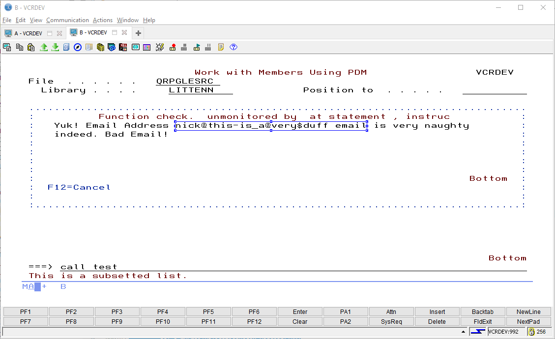 Example RPG Email Validation program - SQLRPGLE ILE 2