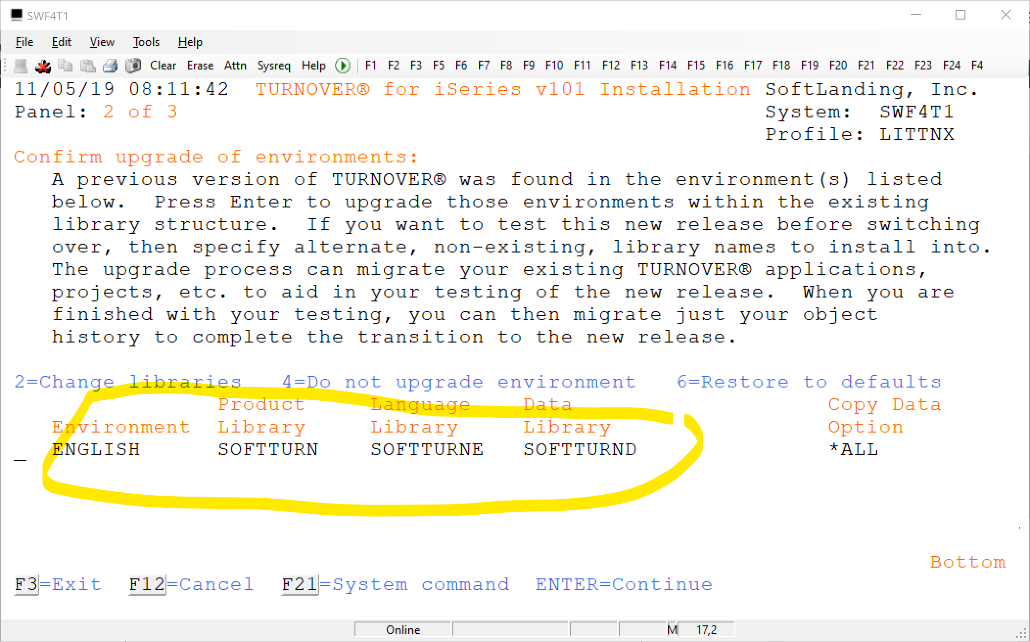 confirm upgrade turnover environment