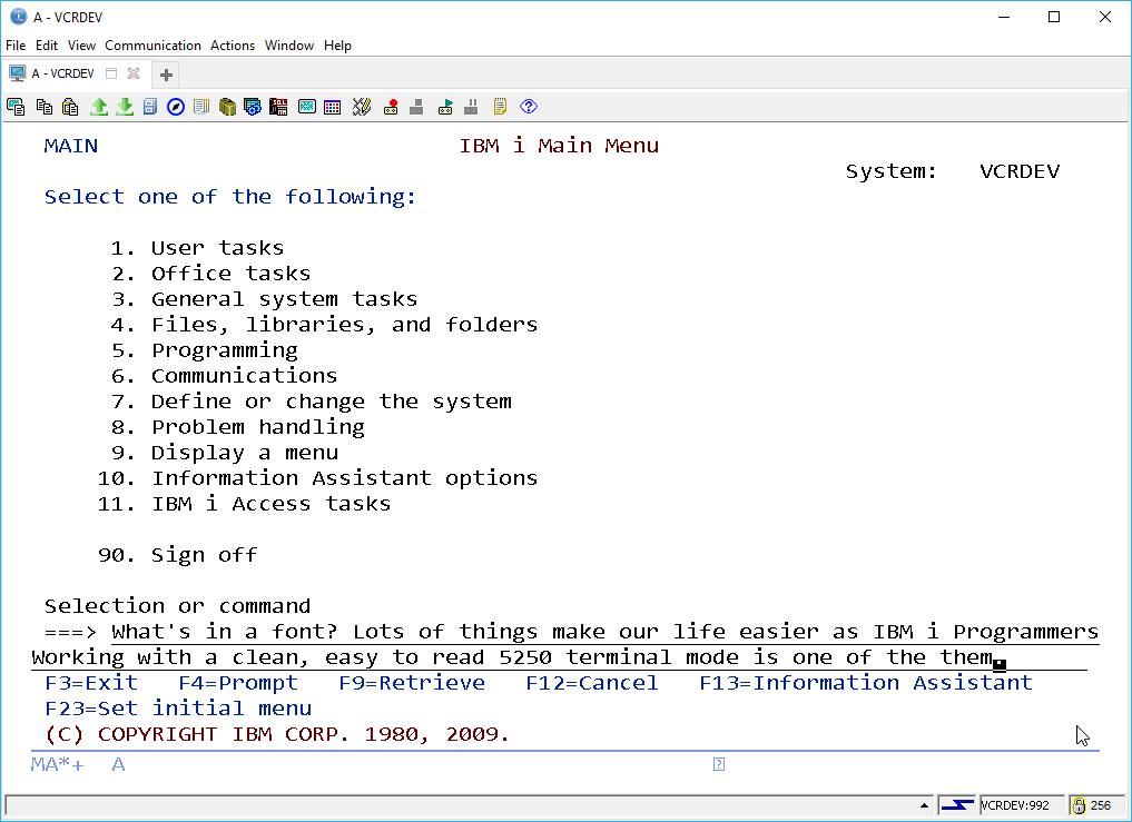 IBM i ACS 5250 EMULATOR FONT - and other ridiculous mumbo