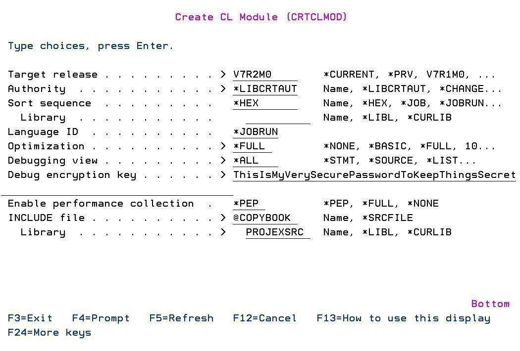 IBM i RPG CLP crtclmod with source encryption