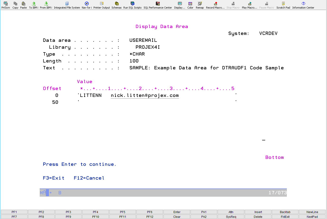 How to read a Data Area (*DTAARA) using IBM i SQL 1