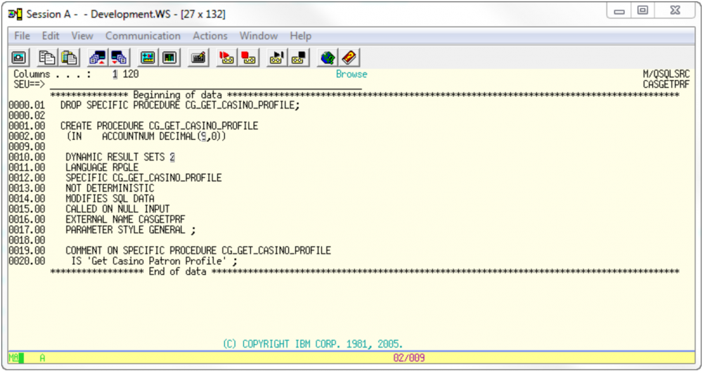 extprc drop and create sql for turnover