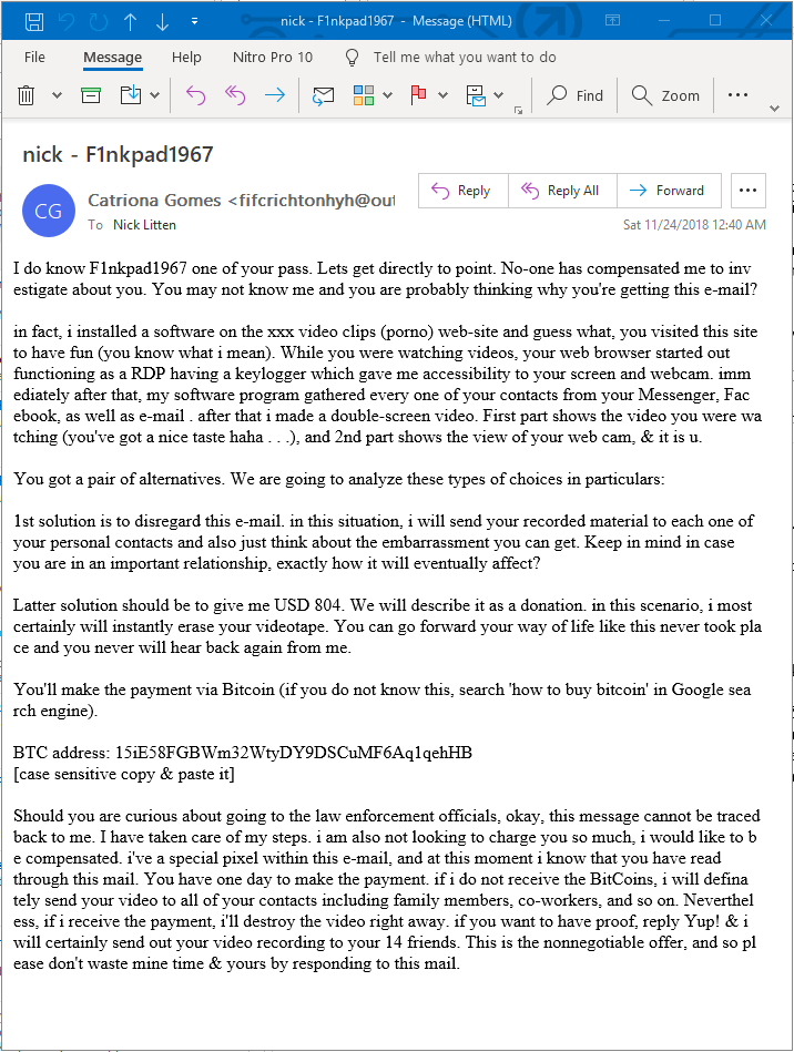 hacker blackmail email bitcoin