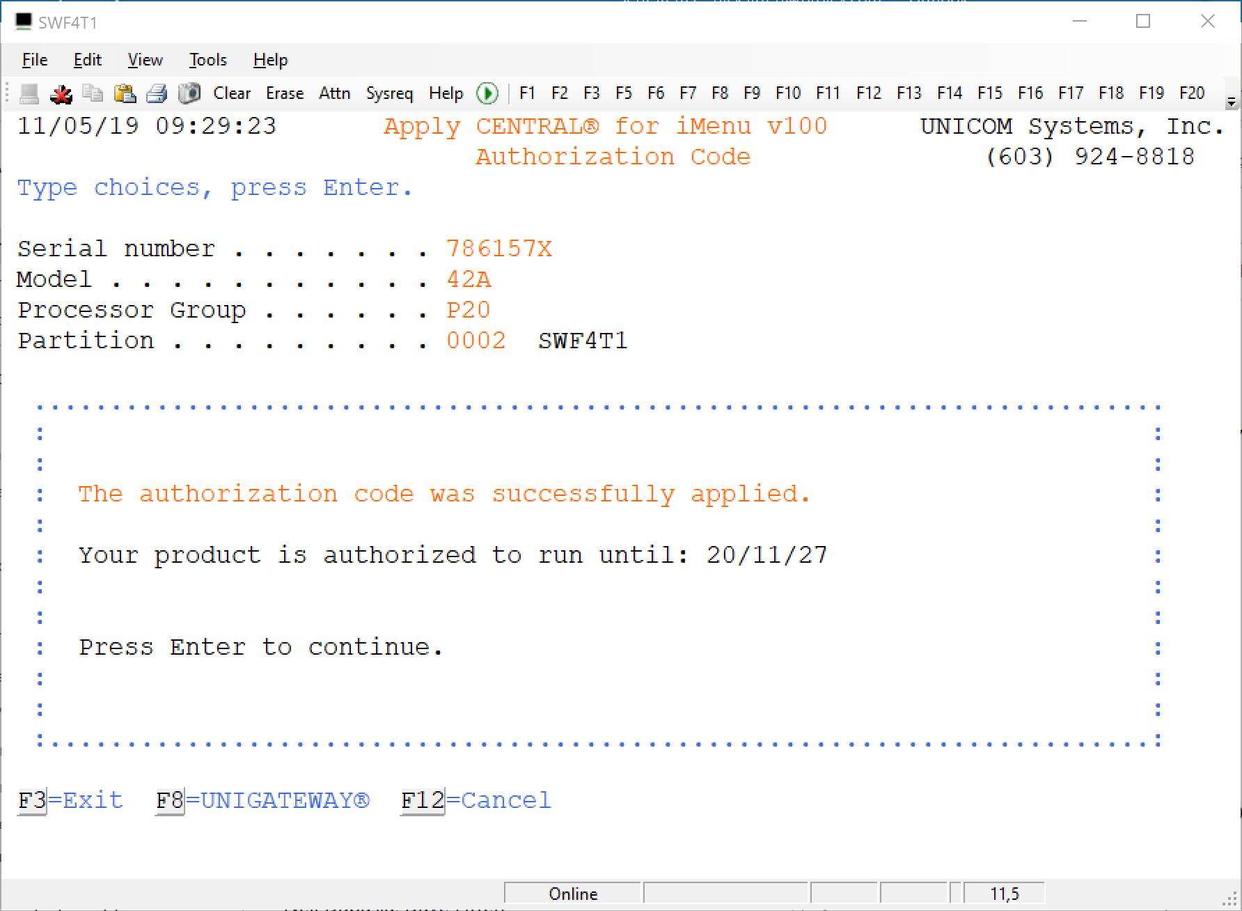 Register license key in SOFTLANDING SOFTMENU 1