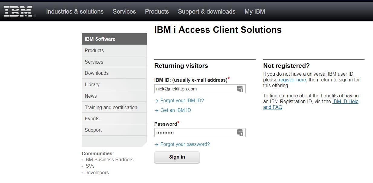 log in to IBM