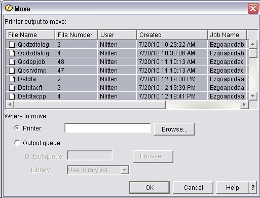 How to move all spool files to a new output queue on the IBMi - IBM