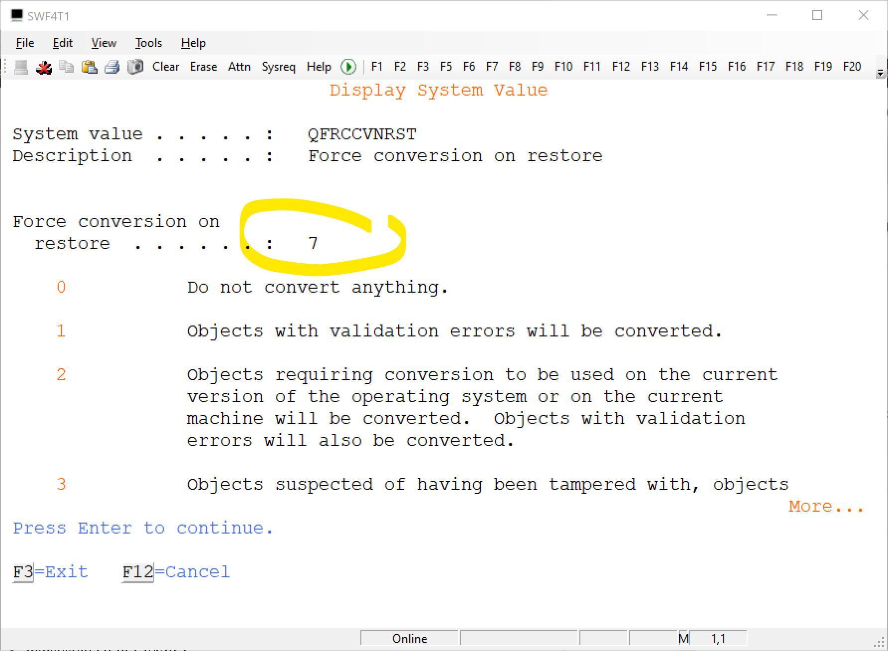 qfrccvnrst Force conversion on restore