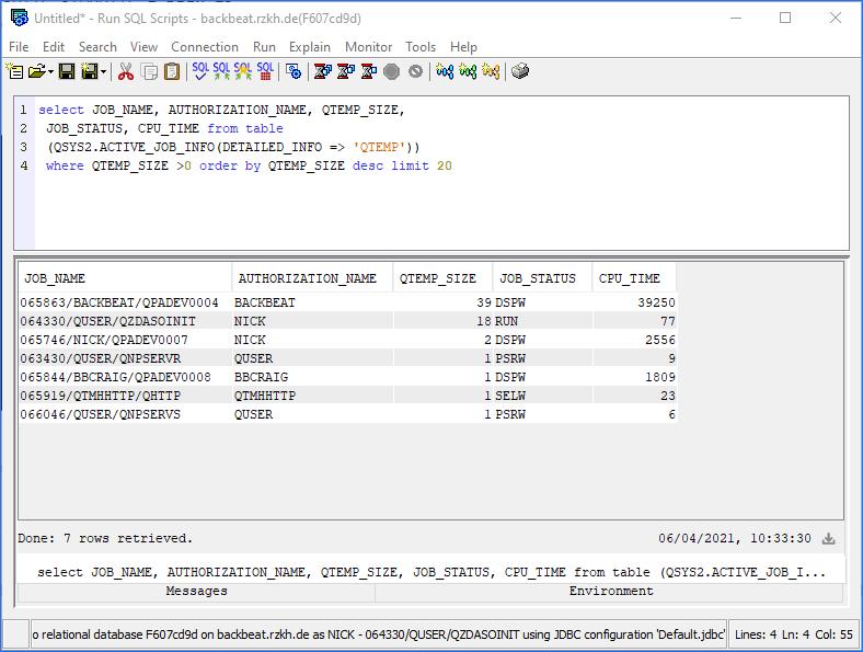 sql script to show qtemp library sizes IBM i ACS