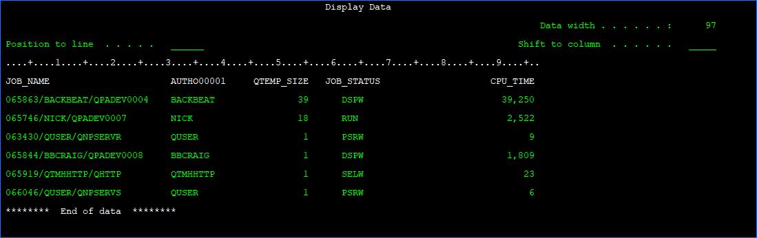 SQL QTEMP sizes
