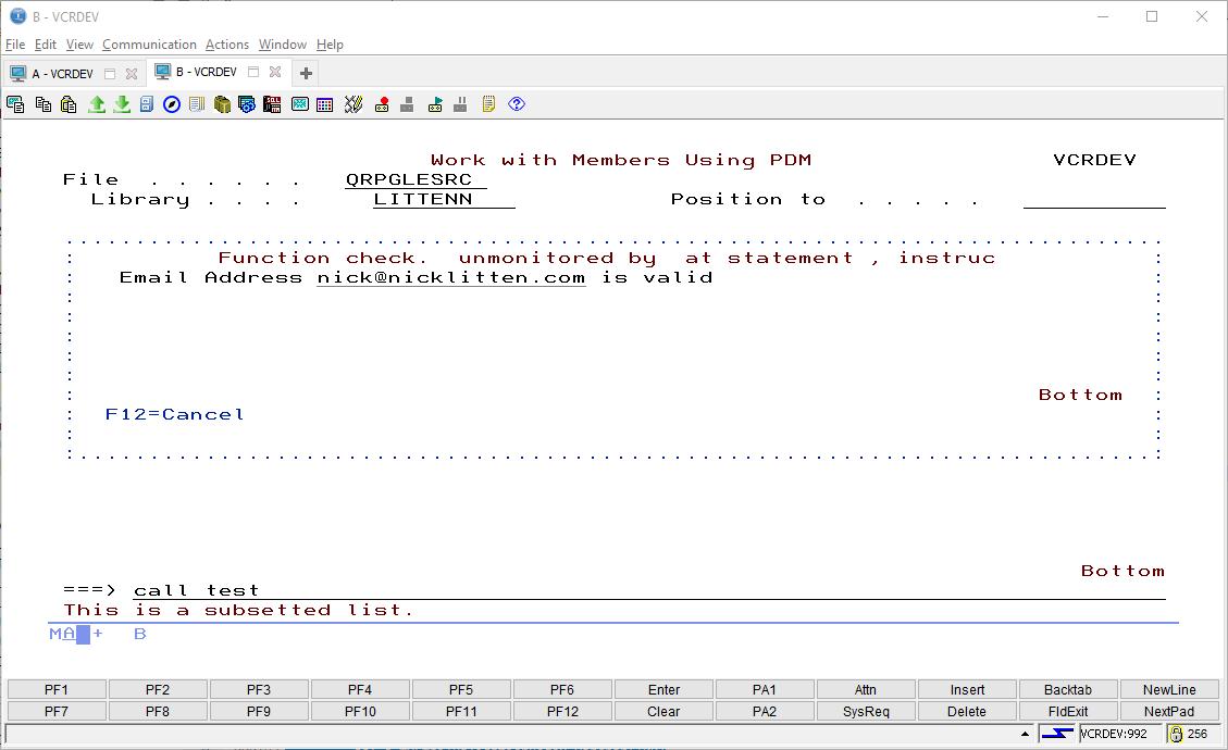 Example RPG Email Validation program - SQLRPGLE ILE 1