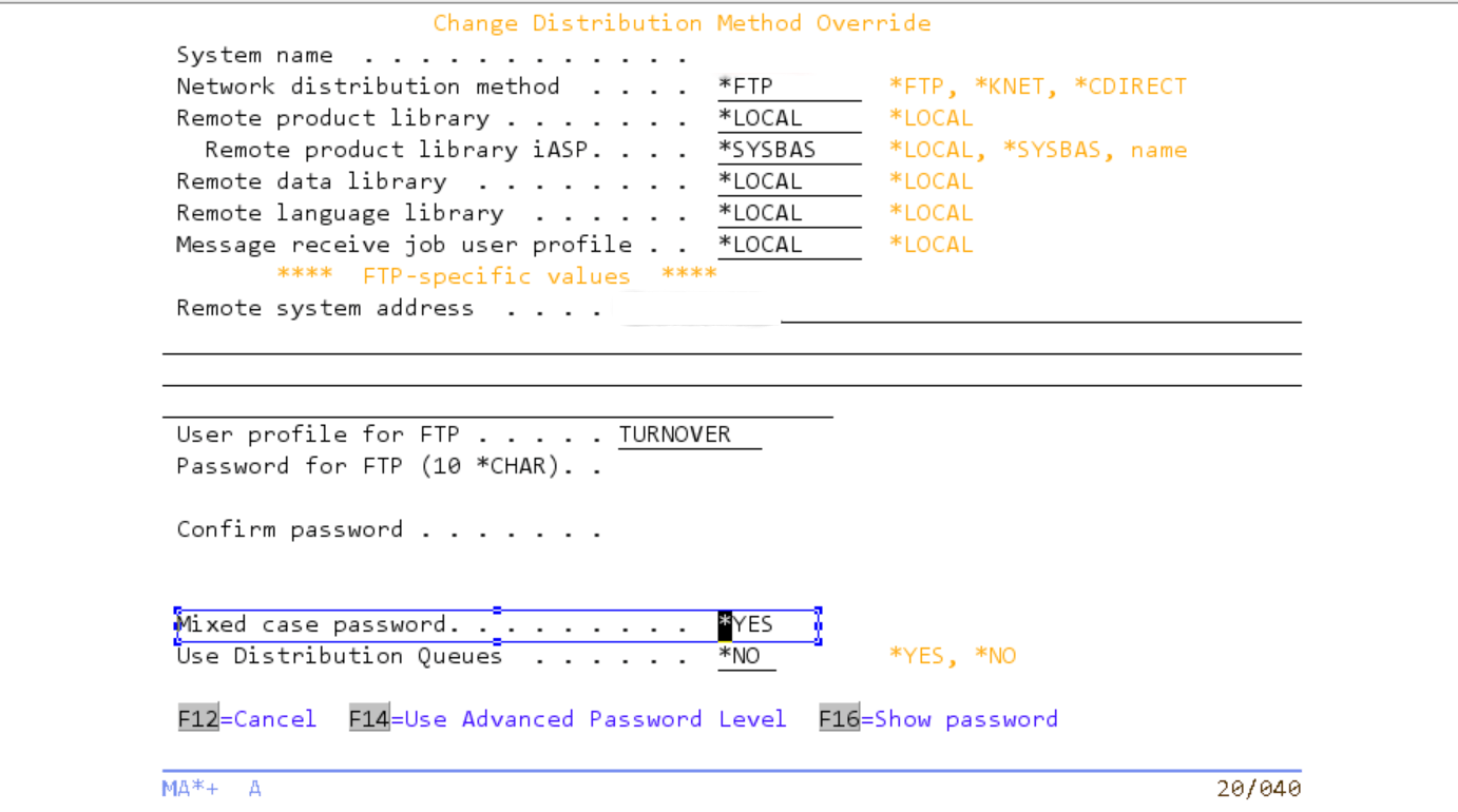 IBM i Change Management - Using Mixed Case password in TURNOVER 5