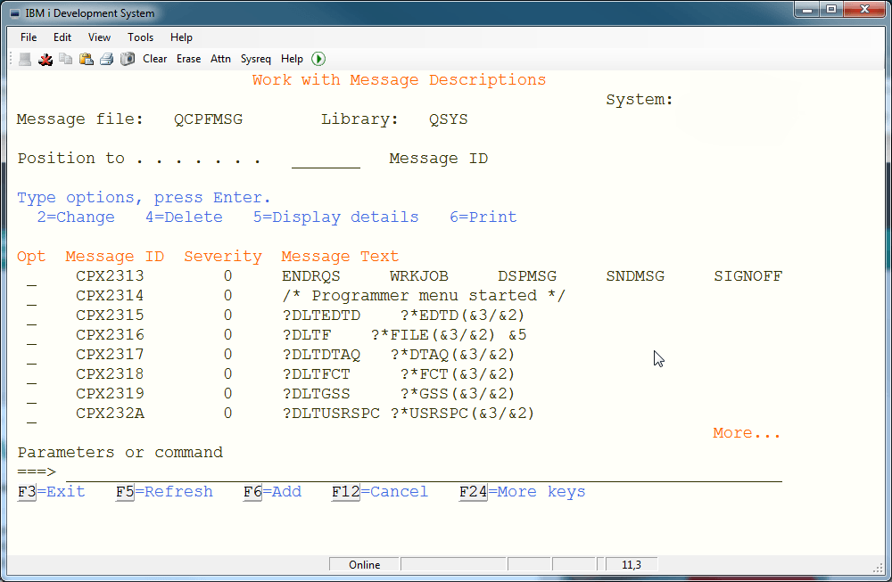 qcpfmsg with sysrq functions